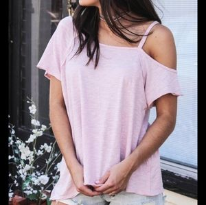 Free People Coraline Pink Asymetric Oversize Top